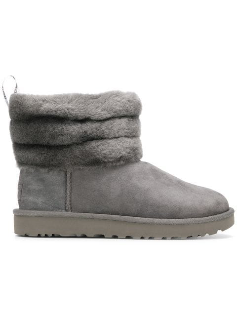 f7bc2209868 Fluff Mini Quilted Suede Ankle Boots in Grey