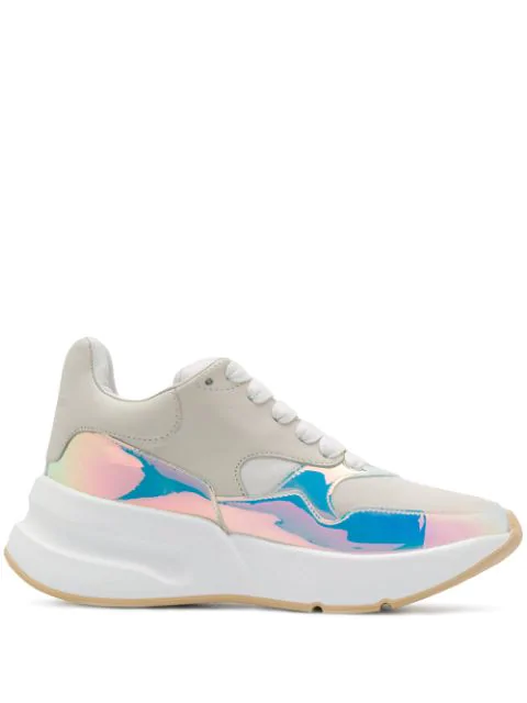 Alexander Mcqueen Smooth And Iridescent Leather Exaggerated-Sole Sneakers In White