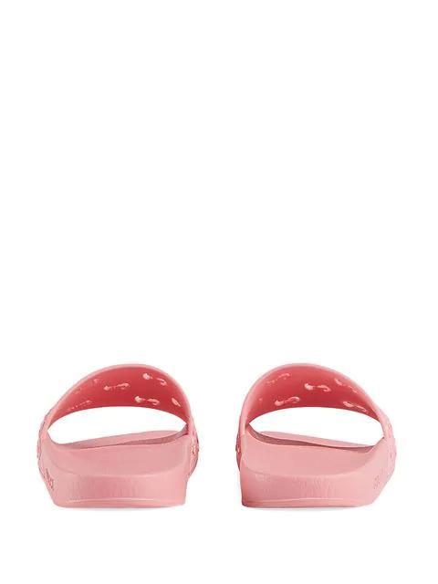 Gucci Women's Rubber Gg Slide Sandal In Pink