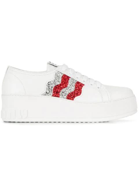 ef5099a1d9e3 Miu Miu Glitter Platform Sneakers - White   ModeSens