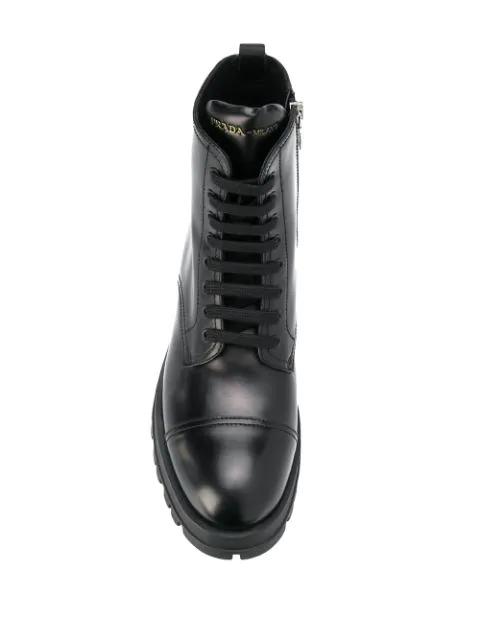 Prada Logo Detailed Black Leather Ankle Boots