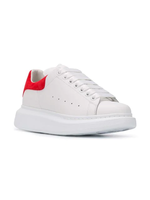 Alexander Mcqueen Runway Leather And Suede Platform Trainers In White