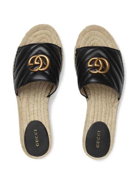 Gucci Logo-Embellished Quilted Leather Espadrille Slides In Black