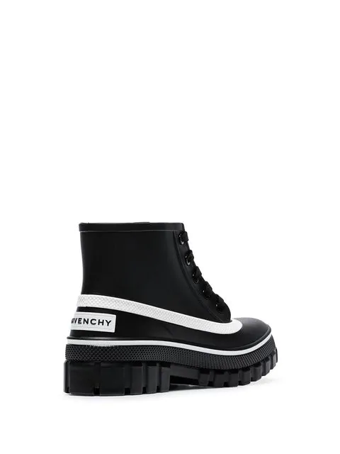 Givenchy Glaston Logo-Print Rubber Ankle Boots In Black