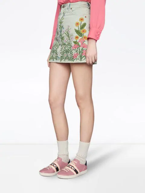 Gucci Ace Leather Sneakers In Pink