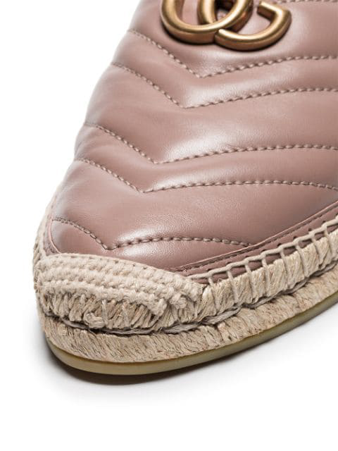 GUCCI PINK DOUBLE G LEATHER ESPADRILLES