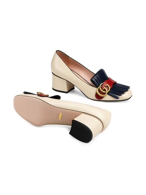Gucci Marmont Fringed Logo-Embellished Leather Pumps In White
