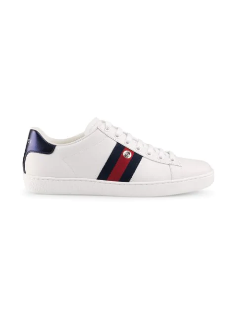 Gucci New Ace Sequin-Embellished Leather Trainers In White