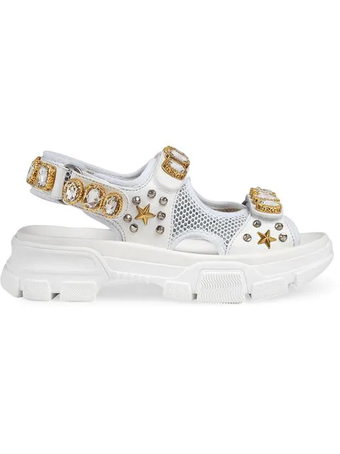 Gucci Sandals Dir20 Mesh Nappa Leather Rivets Strass White