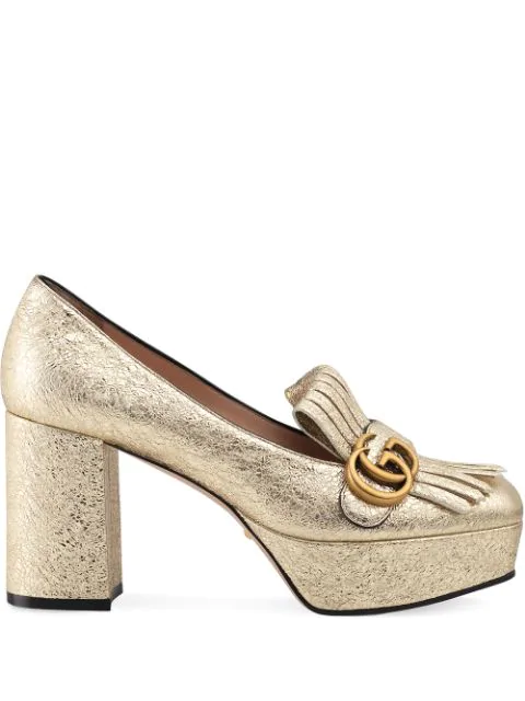 Gucci Laminate Leather Platform Pump With Fringe In Gold
