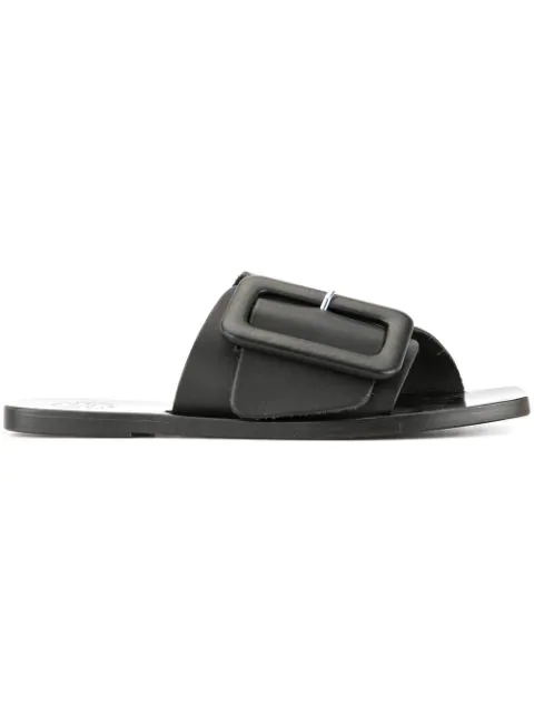 Atp Atelier Leather Buckle Sandals - Black