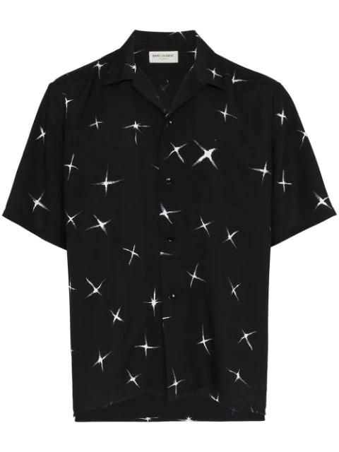 ec364a02f1f Saint Laurent Men's Star-Print Short-Sleeve Sport Shirt, Black/White ...