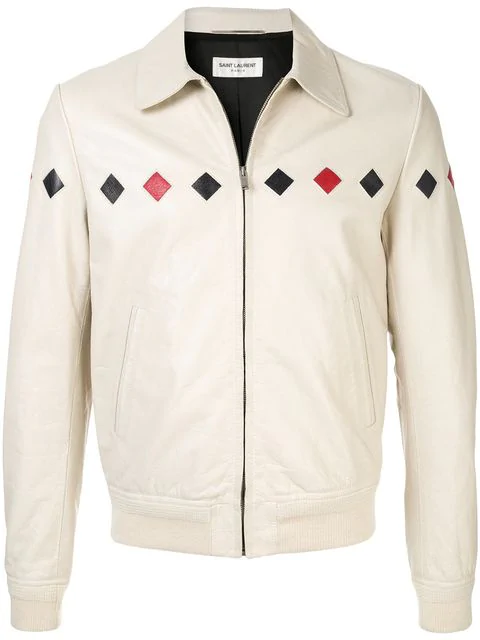 61fecfd8b13 Saint Laurent Checked Varsity Jacket In Vintage Crinkled Leather In White.  Farfetch