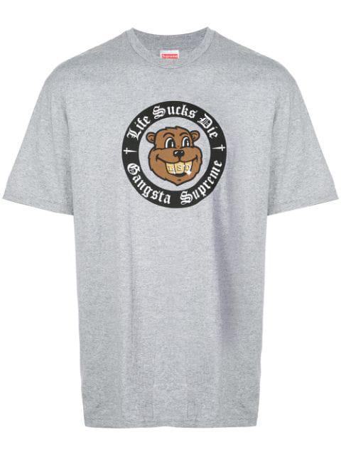 Supreme Cartoon Bear Print T-shirt - Grey | ModeSens