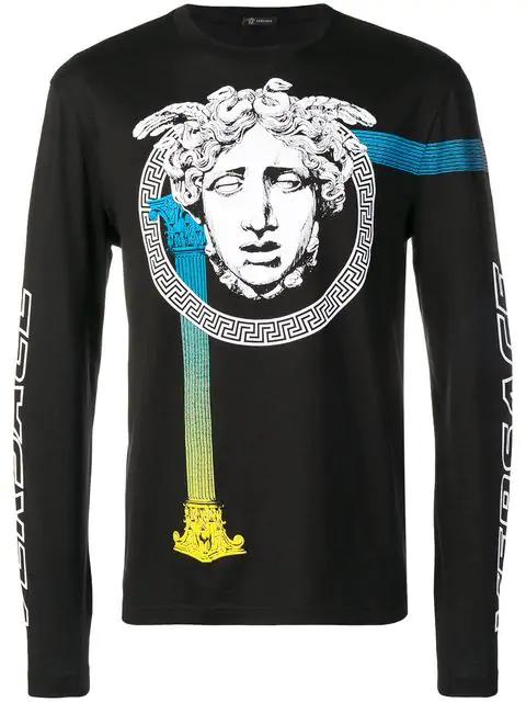 e08c5988 Medusa Graphic Long Sleeve T-Shirt in Black