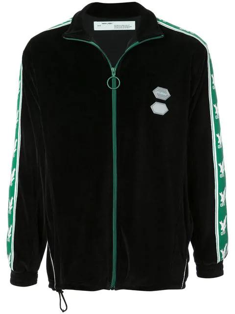 060f14bdcc8 Logo-Sleeve Zip-Through Velour Track Top in Black