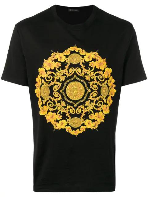 c8d0ca165b Gold Hibiscus Motif Slim Fit T-Shirt in Black