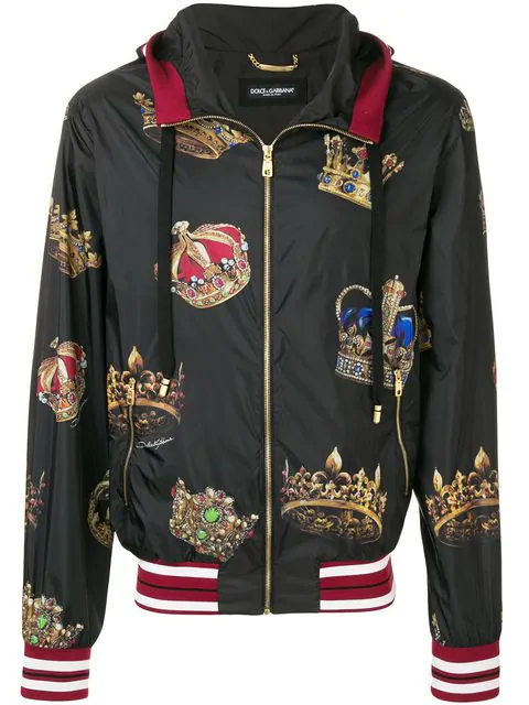 a97d126c0450 Dolce & Gabbana Dolce And Gabbana Black Hooded Crown Jacket | ModeSens