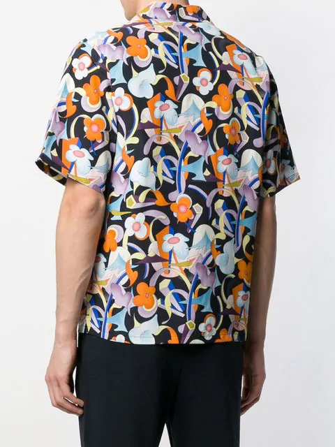 64b1944d Abstract Floral Print Short Sleeve Shirt in Black