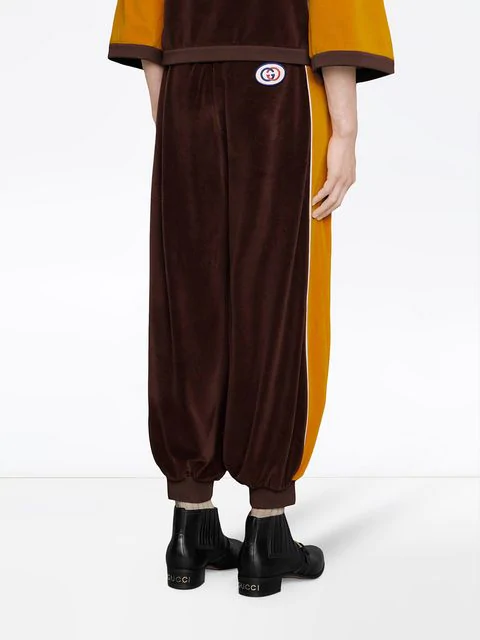 Gucci Chenille Harem Style Pant In Brown