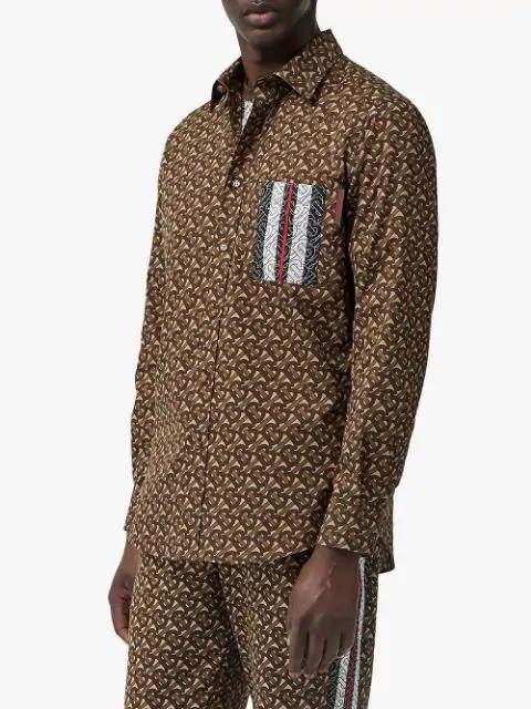 deab39ccf Monogram Stripe Print Cotton Shirt in Brown