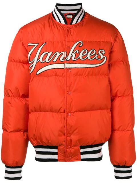 b978520b + New York Yankees Appliquéd Quilted Shell Down Jacket in 7500 Orange