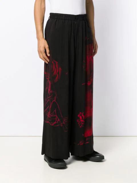 Yohji Yamamoto Printed Wide Leg Trousers - Black