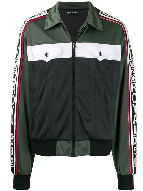 Dolce & Gabbana Jacke In Colour Block Optik Grün in Green