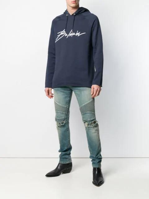 Balmain Logo Print Cotton Sweatshirt Hoodie In Blue