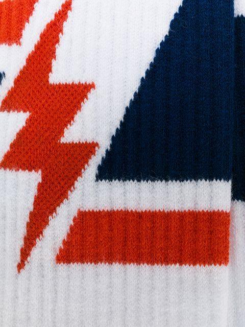Givenchy Men's Geometric Lightning Bolt Socks In White