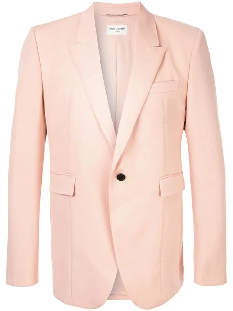 df21df653dd Saint Laurent Grain De Poudre Jacket With Notched Collar In Pink. Farfetch