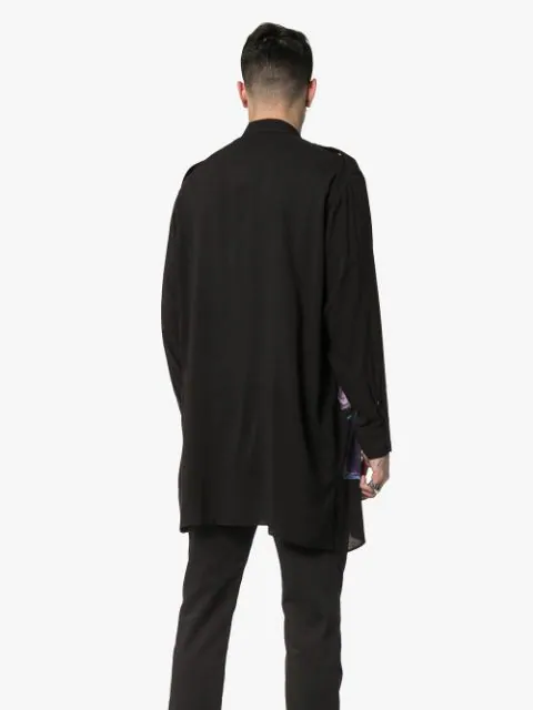 Yohji Yamamoto Printed Long Shirt - Black In 01 Black
