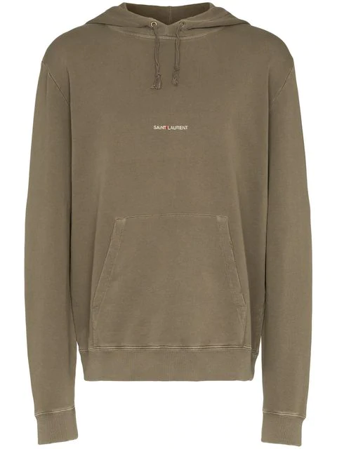 58cbed163a6 Saint Laurent Logo-Print Distressed Loopback Cotton-Jersey Hoodie - Green