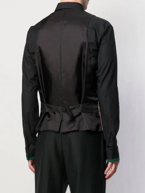 Yohji Yamamoto Black Woman Print Peak Lapel Vest