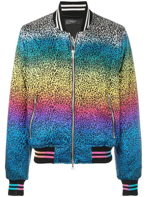 076ddfbd8 Amiri Rainbow Leopard-Print Silk Bomber Jacket In Multicolour   ModeSens