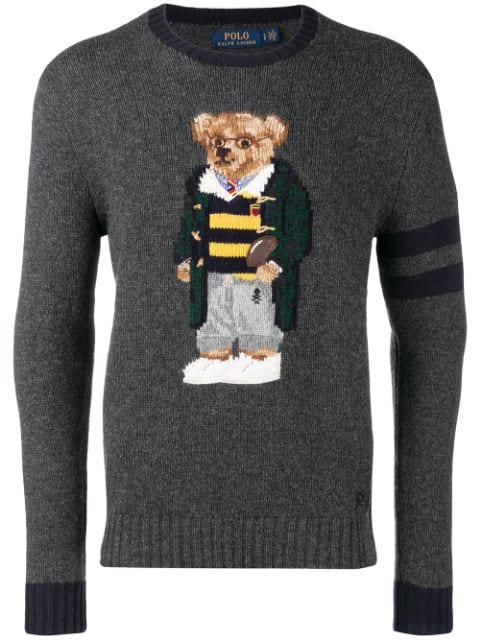 Grey 001 Polo In Knitted Teddy Bear Jumper Ralph Lauren WdrCxBoe
