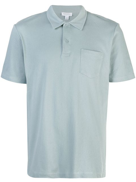 online store c0b69 a277e Sunspel Kurzärmeliges Poloshirt - Blau in Blue