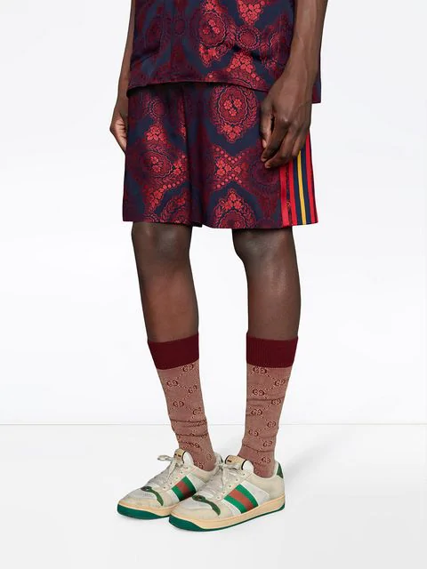 Gucci Men's Tonal Gg Cotton/Wool Socks In Red