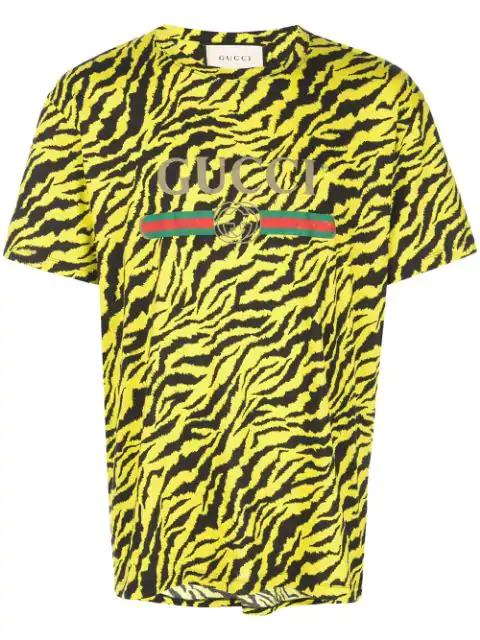 Tiger Print Logo T-Shirt In Yellow