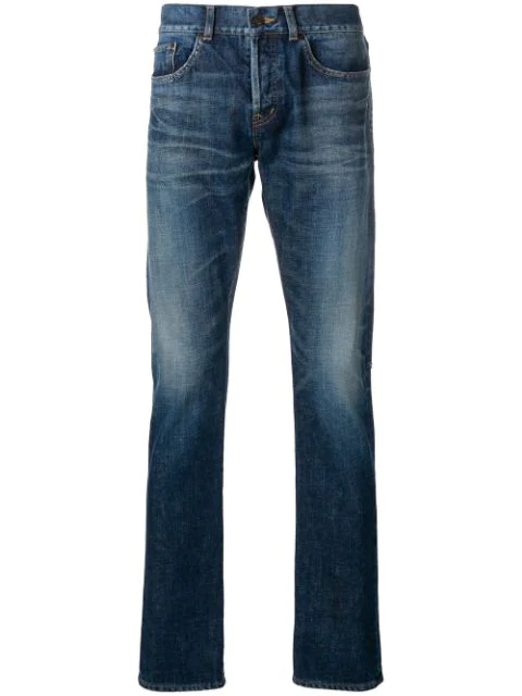 5f5f72be7ab Saint Laurent Skinny Jeans W/ Sl University Patch In Blue | ModeSens