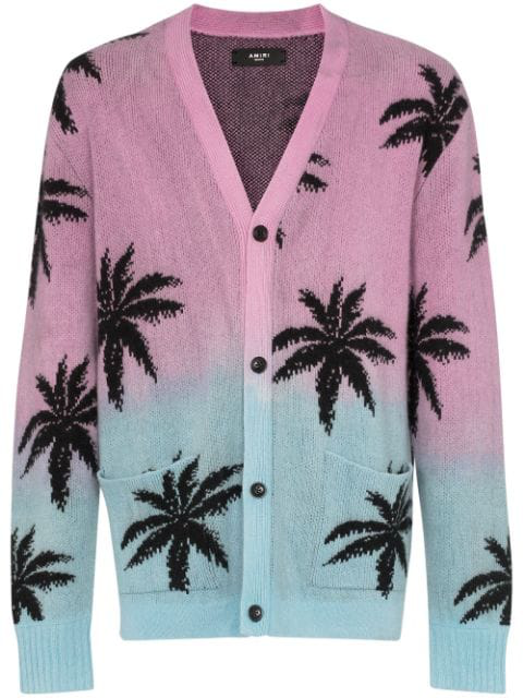 306ddd19b04 Oversized Palm Tree-Intarsia Cashmere And Virgin Wool-Blend Cardigan - Pink  in Purple