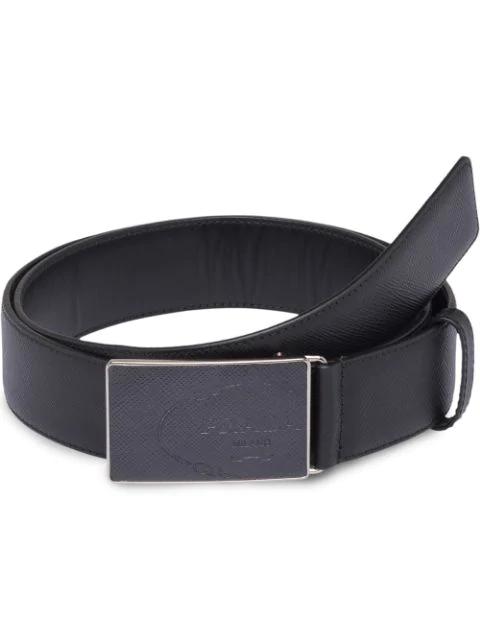 76695c77da Rectangular-Buckle Saffiano-Leather Belt in Black