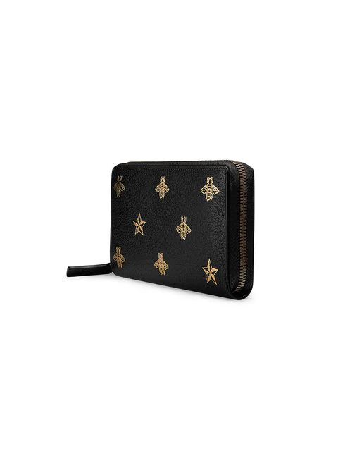 Gucci Bee Star Leather Zip Around Wallet In Black