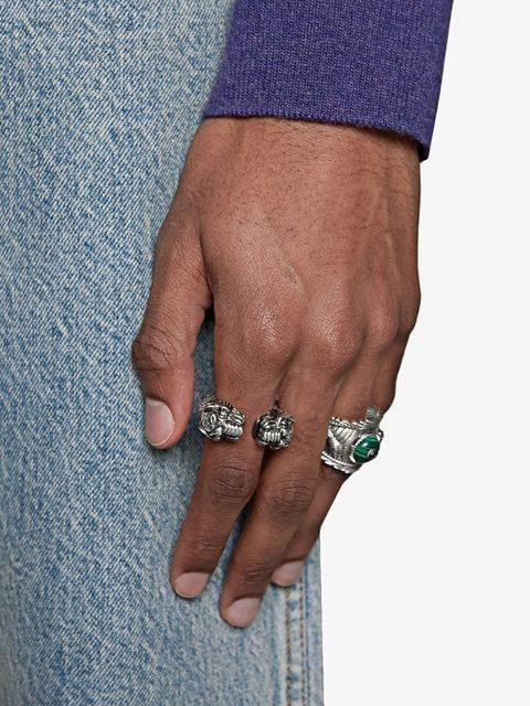 73405f1b95 Men's Siamese Snake Tiger Head Ring in Metallic