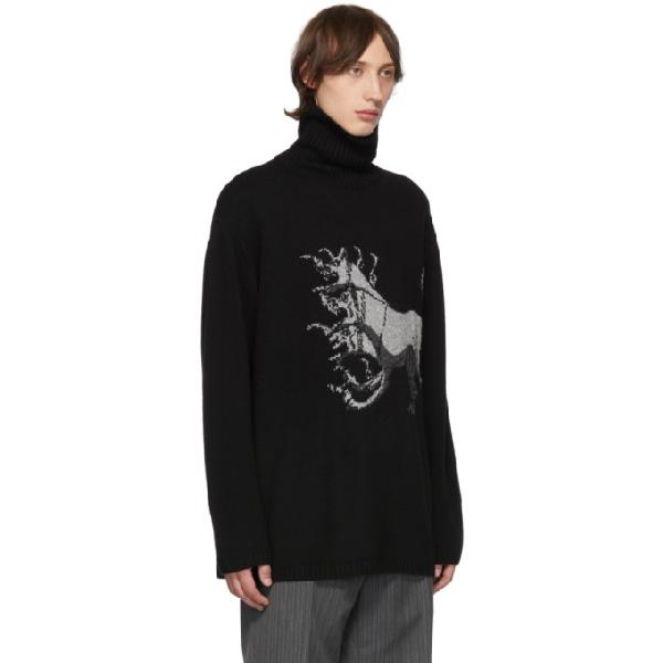 Yohji Yamamoto Black Print Turtleneck