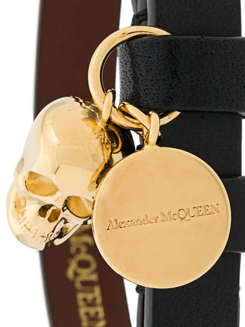 Alexander Mcqueen Double Wrap Leather Skull Bracelet In Black