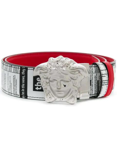 Versace Newspaper Print Belt - Red