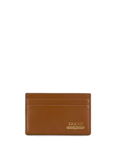 dff0f73183 Gucci Leather Card Case With Gucci Logo - Braun in Brown