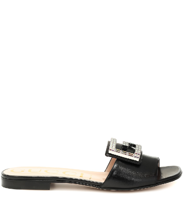 Gucci Crystal-Embellished Leather Slides In Black