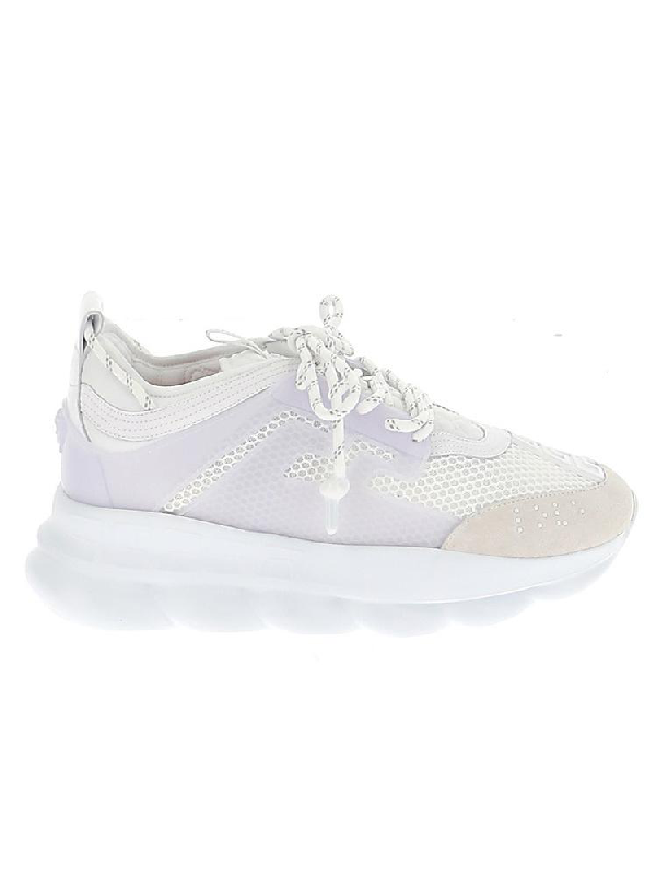Versace Chain Reaction Leather And Mesh Trainers In White